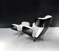 Lyx - WING Lounge Chair... for security screening/general lounge reception area. seat made of NASA memory foam and one huge sheet of metal creates exterior. Base in molecular shape.
