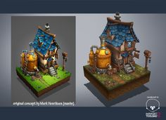 Hello, Finally I found sometime to do it, awesome concept by Mark Henriksen (mavhn). It take one month everyday in my freetime, was very funny to do it. It is not exactly like the concept I just added some props. So, I hope you like it! Warcraft Art, World Of Warcraft, Modeling Tips, Game Design, Brewery, Game Art, Concept Art, Medieval, Doodles