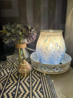 White glass beads are melted and fused into an organic shape, while the ombré effect adds a fun pop of colour. White Ombre, Blue Ombre, Blue And White, Colored Light Bulbs, Color Pop, Colour, Ombre Effect, Cozy Corner, Organic Shapes
