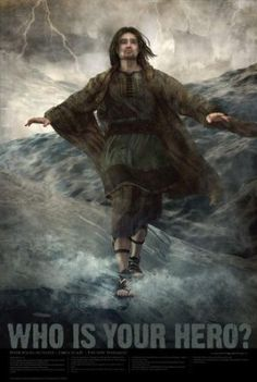 """Who Is Your Hero? Christian Bible Hero Poster - 24x 36 - """"Apostle Peter Walks on Water"""" - Would be a Great Movie Poster!"""