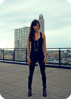 Black Tank, Michael Mercanti Studded Pouch Necklace, Pink Cobra Pvc Tights, Diesel Lace Up Wedge/Heels