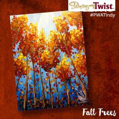 I love this painting! So simple but it takes you the perfect Fall afternoon, relaxing under the trees. Paint a memory with us, Sat. Oct, 8th at 7pm. Join us Painting with a Twist – Indy! ©Painting with a Twist.