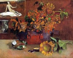 Gauguin...In order to satisfy Vollards request for pictures of flowers, which were selling well, Gauguin asked his French friends to send him seeds.He planted them in the garden behind his hut.