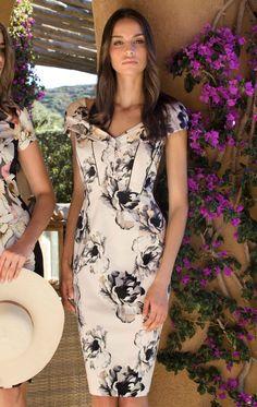 3202a6f8ef 8660 - Michaela Louisa 8660 Nude Floral Print Occasion Dress with Bardot  Neckline - Michaela Louisa
