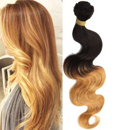 "US Local Ombre Human Hair Extension 12""-14""Brazilian Body Wave 6A Haar Wefts #WIGISS #HairExtension"
