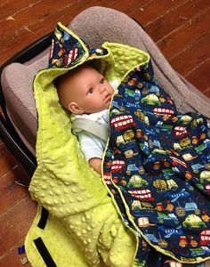 Minky car seat swaddle blanket for boys by Stoffenspinsels on Etsy