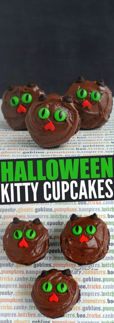 These Halloween Kitty Cupcakes are a delicious not-so spooky halloween treat. Kitty Cupcakes, Yummy Cupcakes, Halloween Cupcakes, Holiday Cupcakes, Halloween Treats, Spooky Halloween, Happy Halloween, Halloween Foods, Halloween Recipe