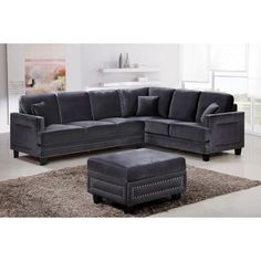 With plenty of seating and plenty of style, the Meridian Furniture Inc Ferrara 2 Piece Sectional Sofa with Pillows is the perfect addition to your living.