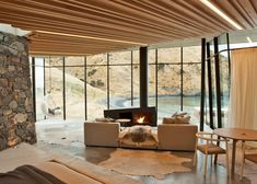 Seascape Retreat - Residential Architecture by Patterson Associates. Canterbury, Modern Glass House, Glass House Design, One Bedroom House, Interior Architecture, Interior Design, Living Room Lighting, Room Lights, Living Room Designs