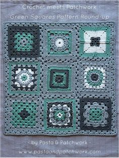 Crochet meets Patchwork Afghan | Green Granny Squares Pattern Round-up:
