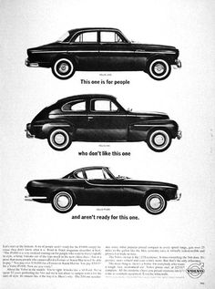 1963 Volvo P1800 Sport Coupe vintage ad. Also features the 122S compact Sedan and the 22 year old 544 model. Original MSRP for the P1800 started at $3,995.