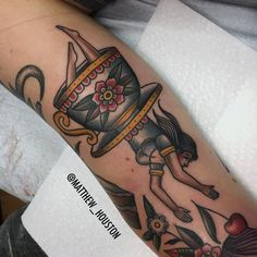 @matthew_houston Alice in wonderland diving into a classic cuppa! #aliceinwonderland #teacup #whimsical #fantasty #reality #traditional #tattoo