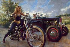 Sly Hill Showdown   these mean so much more when you read the story behind them..I chose the depiction of a classic hot rod interacting with one of the largest growing segments of the riding community, a woman.
