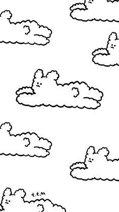 직접 그린 배경화면 (푸드리 구름) : 네이버 블로그 B&w Wallpaper, Cute Pastel Wallpaper, Graphic Wallpaper, Kawaii Wallpaper, Wallpaper Iphone Cute, Wallpaper Backgrounds, Aesthetic Wallpapers, Aesthetic Iphone Wallpaper, Cute Cartoon Wallpapers