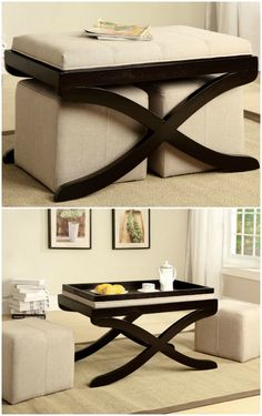 Stylish and space-saving. Padded bench seat can be flipped to use as serving tray
