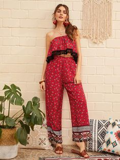 Women Ladies New Cool Summer Cropped Black Floral Matching Top//Trouser CoOrd Set