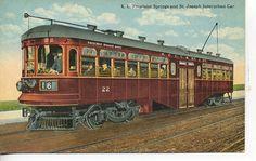 Colorized B&W photo of Kansas City, Excelsior Springs & St Joseph interurban #22