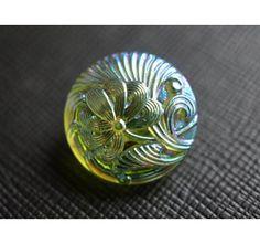 Czech Glass Button Flower Lt.Green-Blue AB size 8