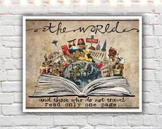 """""""The World Is A Book"""" PAPER PRINT - travel artwork. TITLE - THE WORLD IS A BOOK (signed archival giclee print on acid-free cotton paper. white border for framing purposes as pictured.) The world is a book, and those who do not travel read only one page. -St. Augustine This mixed media collage was created as a special commission, using much of my client's own photography! She is a very well-traveled individual and wanted a piece of art that reflected some of her favorite places around the..."""