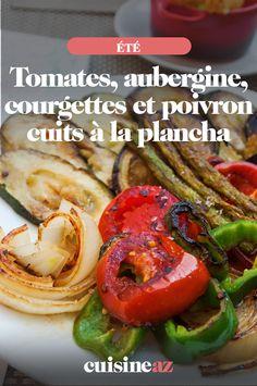 Pour faire le plein de légumes avec une cuisson à la plancha ! #recette#cuisine#legumes#plancha  #ete Pickles, Cucumber, Food, Eggplant, Tomatoes, Cooking Recipes, Vegetable Tian, Sunday, Essen