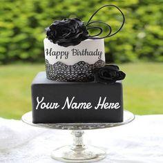 Write Name On Black Rose Birthday Cake For Girls