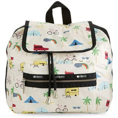 Lesportsac Mini Voyager Backpack ($83) ❤ liked on Polyvore featuring bags, backpacks, road trip cream, print backpacks, patterned backpacks, mini backpack, nylon backpack and lesportsac