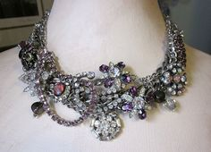 I love glitz!  Vintage Assemblage Rhinestone Necklace - One of a Kind!