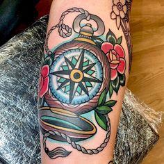 #mulpix Aaron's traditional compass. Yes I tattoo boys too! #dustnbones #uktta #uktattoo #ladytattooers #femaletattooist #trad #traditionaltattoo #compasstattoo #sleeve #tattoo #tattoosleeve #ink #inkedmagazine #totaltattoomagazine #customtattoo