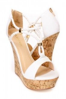 White Braided Strappy Cork Wedges Faux Leather