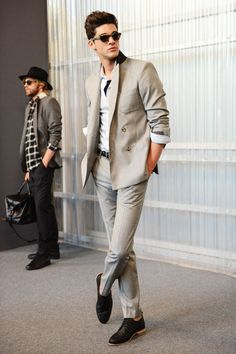 AMI Spring 2014 Men's Collection.   Perfect summer palette , cuffs pushed up, good pant length, and even cooler shoes. The glasses need to be replaced though!!!