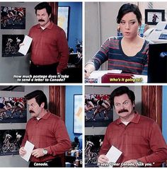 Parks and Recreation - Ron Swanson's dear Canada letter ....