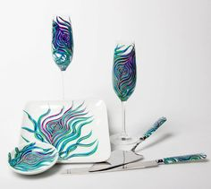Our Peacock Toasting Glasses, Cake Plates, and Knife:). #peacockwedding #wedding