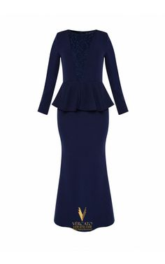 Lace Detailed Peplum Muslimah Dress - Vercato Miley in Navy Blue