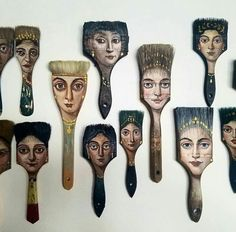 Recycled Art: Los Angeles-based surrealist Alexandra Dillon turns worn-out objects like paint brushes, axes, etc. into unique painting canvases. Paint Brush Art, Paint Brushes, Inspiration Art, Art Inspo, Assemblage Kunst, Art Altéré, Art Du Collage, Art Populaire, Classic Portraits