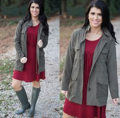 Faux suede olive jacket + Olive rain boots = perfect for this warm yet a tad rainy Sunday! Shop link in bio. ‪#‎shopPD‬