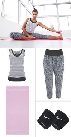 Ein Yoga-Outfit, wie man es sich wünscht: Entspannte Schnitte, coole Muster und Farben sorgen für einen sportlich-lässigen Hippie-Style, der vor allem auf Bewegungsfreiheit ausgelegt ist.