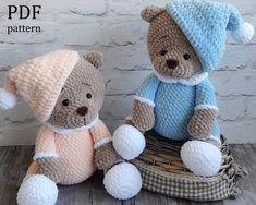 Amigurumi Teddy bear in pajamas Сrochet pattern PDF. Crochet Teddy Bear Pattern, Crochet Patterns Amigurumi, Crochet Dolls, Thick Yarn, Half Double Crochet, Tutorial, Etsy, Teddy Bears, Crocheting
