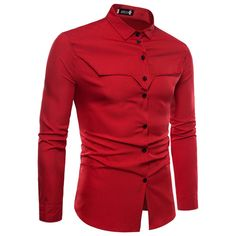 Fashion Tailored Long Sleeve Shirts RED is part of Shirt outfit men - Cool Shirts For Men, Formal Shirts For Men, Stylish Shirts, Indian Men Fashion, Mens Fashion Wear, Boys Kurta Design, Smart Casual Wear, Mens Designer Shirts, African Clothing For Men