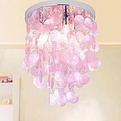 HAIXIANG Girl's Bedroom Crystal Shell Pendant Lamp Chandelier Lighting Ceiling Light Pink