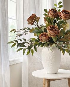 These earthy brown artificial garden roses are the perfect way to bring in fall. Style with artificial ruscus leaf stems in a neutral vase to add a touch of elegance to your transitional home decor. Shop this look by @brittan_allie_home at Afloral.com. Fake Hydrangeas, Hydrangea Flower, Fake Flowers, Dried Flowers, Dried Flower Arrangements, Vase Arrangements, Fall Wedding Flowers, Flower Bouquet Wedding, Fall Home Decor