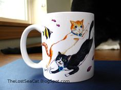 Cat Mug Hand Drawn gift for cat lovers pet by phoenixchiu on Etsy