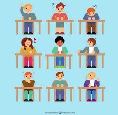 Students in class set Free Vector Student Flats, Kids Going To School, World Teachers, School Images, School Labels, Teachers' Day, Certificate Templates, Web Banner, Happy Kids