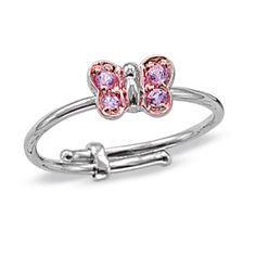 FuFoo Child's Pink Sapphire Butterfly Adjustable Ring in 14K White Gold - Zales-Rozy ring