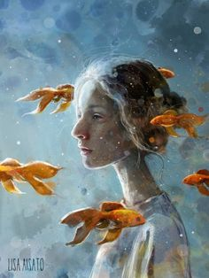 Dagdrøm | Lisa Aisato - nettbutikk Street Painting, Sky Painting, Kunst Inspo, Art Inspo, Art And Illustration, Surreal Art, Cat Art, Amazing Art, Illustrators