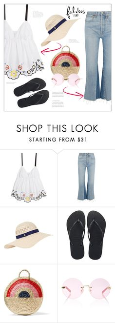 """""""Fabulous find"""" by frenchfriesblackmg ❤ liked on Polyvore featuring See by Chloé, RE/DONE, Accessorize, Havaianas, Vanessa Seward and Karen Walker"""