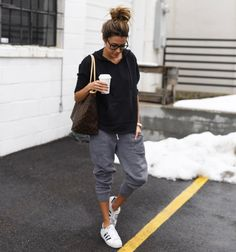 Messy bun and this poncho + joggers. #comfortzone {Shop this combo in Bio} #poncho #pullover #instagood