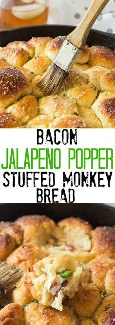 This Bacon Jalapeno Popper Stuffed Monkey Bread is perfect for game day! Stuffed… This Bacon Jalapeno Popper Stuffed Monkey Bread is perfect for game day! Stuffed with cream cheese, jalapeno and bacon, it's a fun twist on a classic game day favorite. Bacon Jalapeno Poppers, Stuffed Jalapenos With Bacon, Stuffed Peppers, Jalapeno Cheese Bread, Cheese Dips, Bacon Dip, Fudge, My Favorite Food, Favorite Recipes