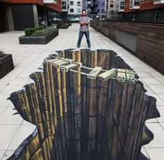 Illusions. I know it's just art but if I saw it I wouldn't be able to walk across it. Amazing!