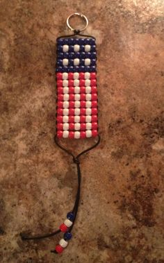 Pony Bead American Flag Key chain by UniqueHanMadeJewelry on Etsy, $3.00