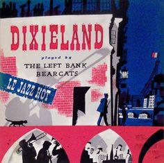 vintage album cover — Left Bank Bearcats – Dixieland, Illustrated by Joe Krush, 1958